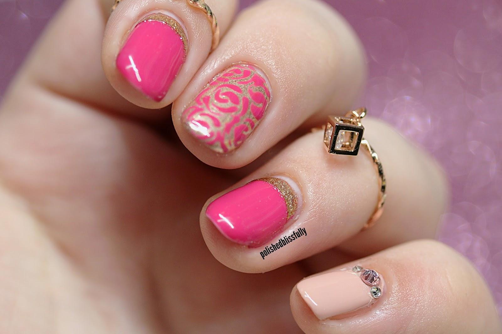 Polishedblissfully Rose Gold Floral Gel Nail Design