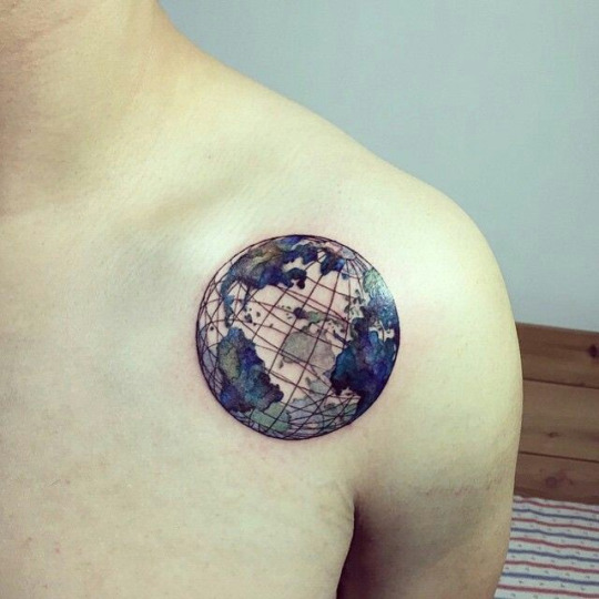 Colorful Travel Tattoos Ideas