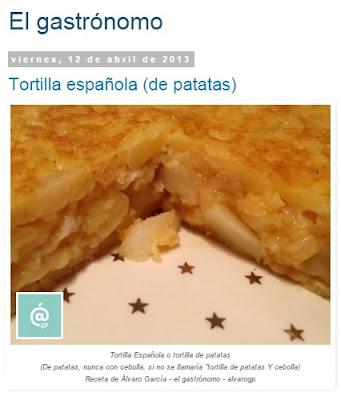 Tortilla de patatas - Tortilla española - Tortilla de patatas SIN cebolla - Recetas TOP10 de El Gastrónomo en marzo 2016 - Álvaro García - ÁlvaroGP - el troblogdita