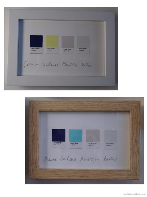 framed Pantone swatches in a coffee shop in Paris October 2017