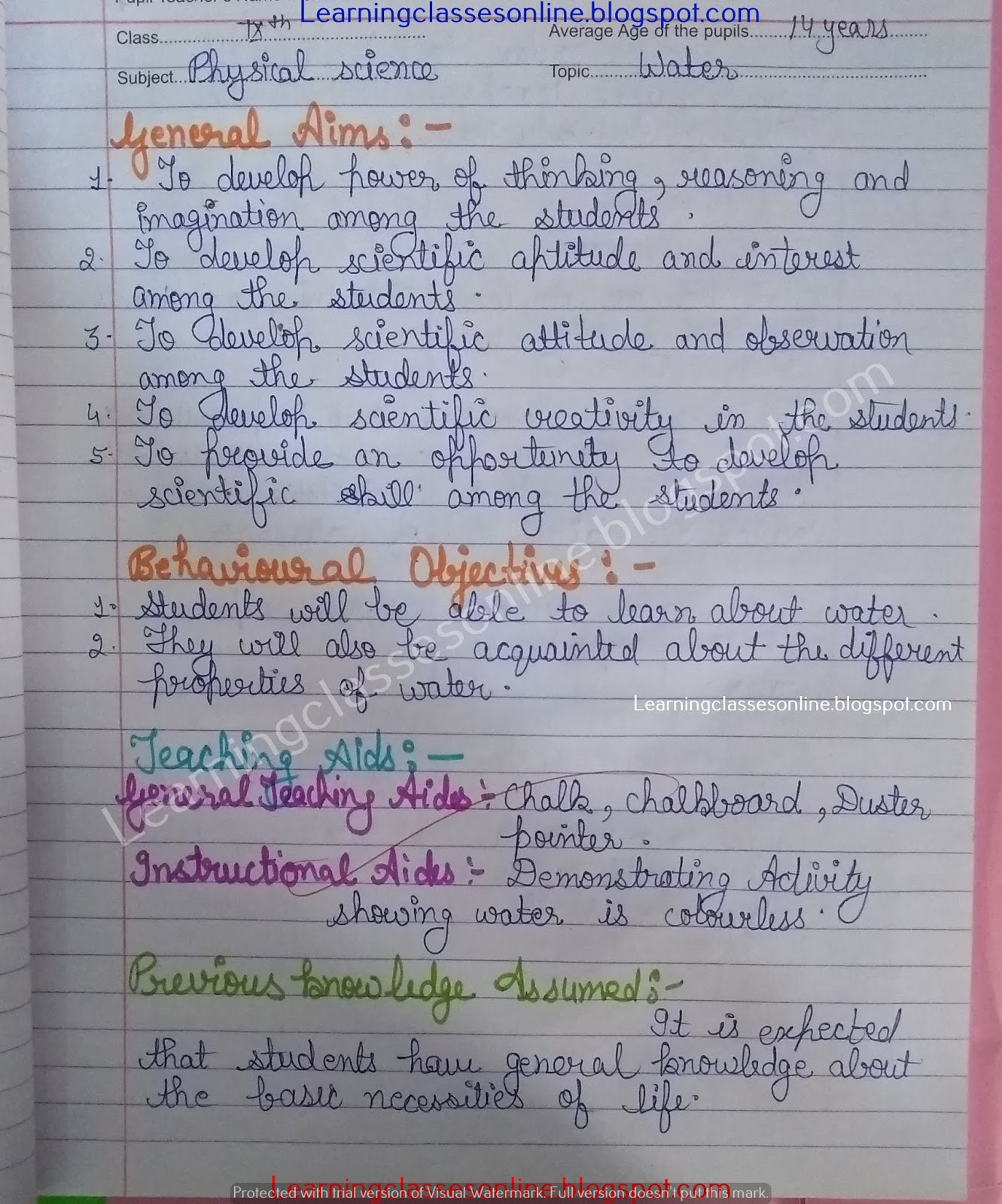 Science Lesson Plan On Water And Its Properties And