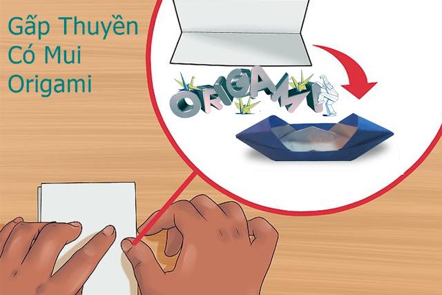 Cách gấp, xếp thuyền có mui bằng giấy origami - Video hướng dẫn xếp hình - How to make a motor boat