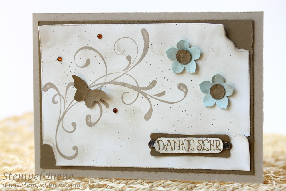 Dankeskarte, Stampin Up Everything Eleanor, Stampin Up Tausend dank, Karte im Vintage-Look, Stampin up Sammelbestellung, Stampin up Jahreskatalog 2014-2015