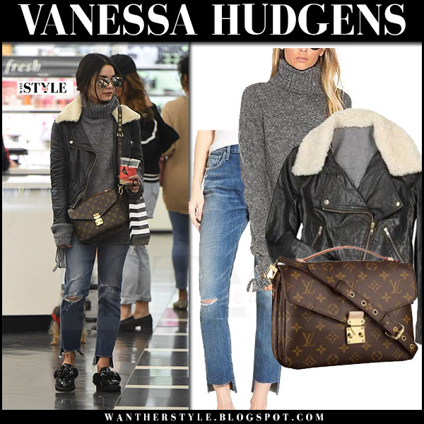 Vanessa Hudgens in black leather jacket acne rita, ripped jeans and brown monogram bag louis vuitton what she wore