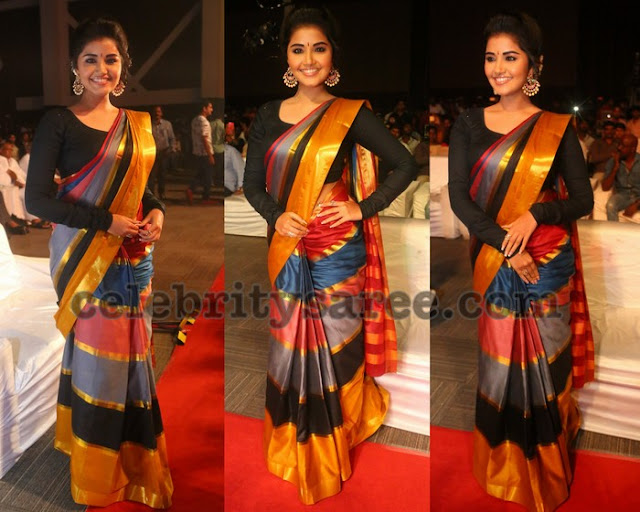 Anupama Parameswaran Stripes Silk Saree