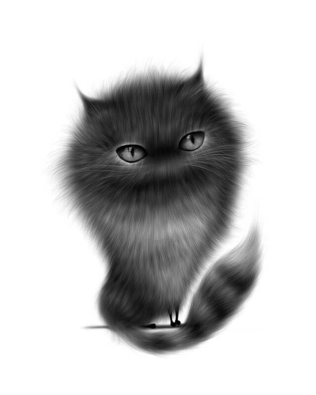 05-Black-Cat-Maria-Fluffy-Animals-in-Digital-Art-Creatures-www-designstack-co