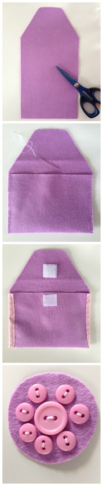 How to make a felt and ribbon purse for small treasures for a child