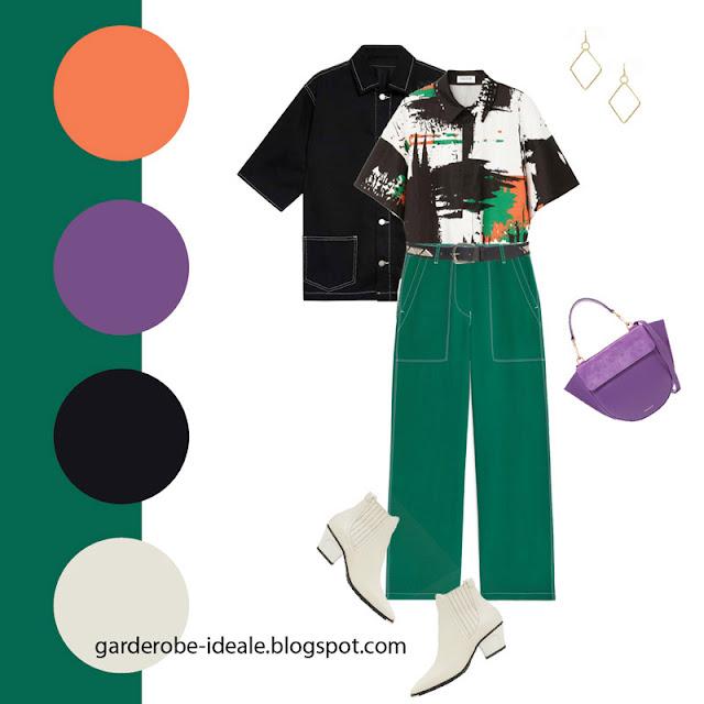 Черная рубашка и зеленые брюки в утилитарном стиле