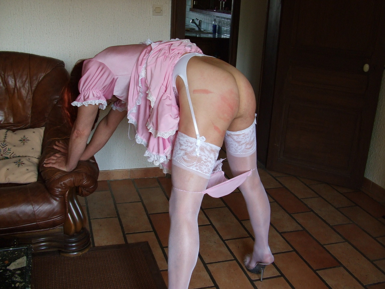 Sissy maid spank