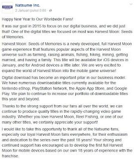 Harvest Moon : Seed Of  Memories Telah Hadir Untuk Perangkat IOS dan Android