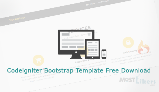 Codeigniter Free Responsive Bootstrap Template with Basic
