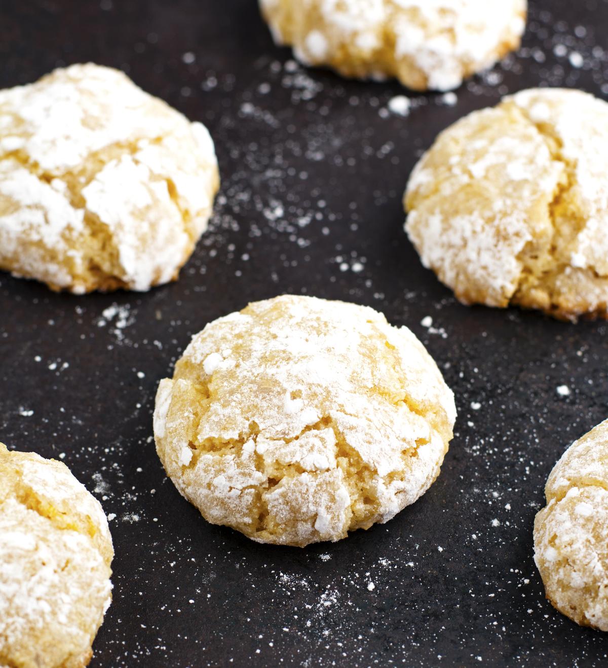 Lemon Almond Crinkle Cookies