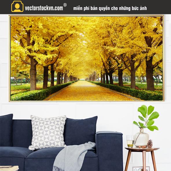 Tranh Hàng cây múa lá vàng miễn phí.
