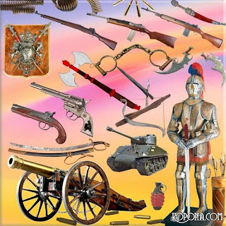tanques , armas, pistolas , rifles, sabres , espadas, escudos , armaduras, capacetes, arcos e flechas , bestas , estilingues , granadas, balas