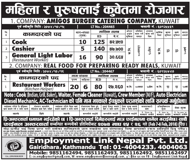Jobs in Kuwait for Nepali, Salary Rs 47,700