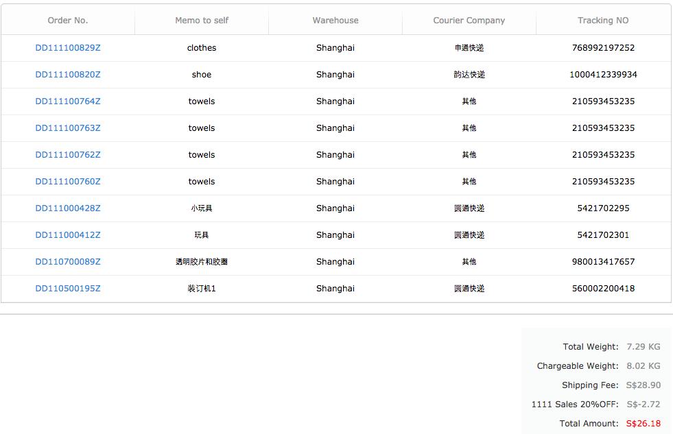 65daigou taobao sea shipping invoice order
