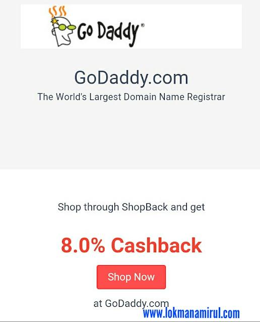 Ganjaran Rebat Tunai Godaddy Di Shopback Malaysia