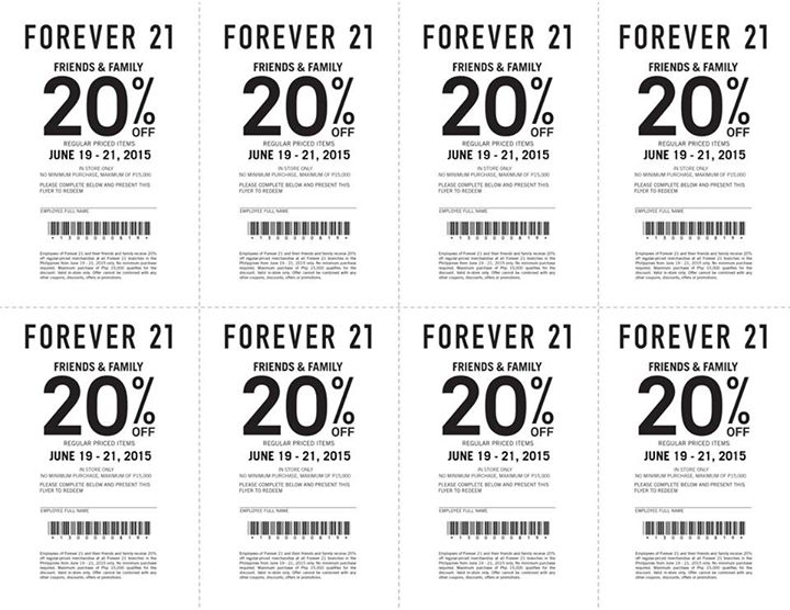 80% Off Now | Forever 21 Coupon. Honestly, this is one of the best Forever 21 coupons we've seen all year. Use it and lock in up to 80% off season-perfect fashion.