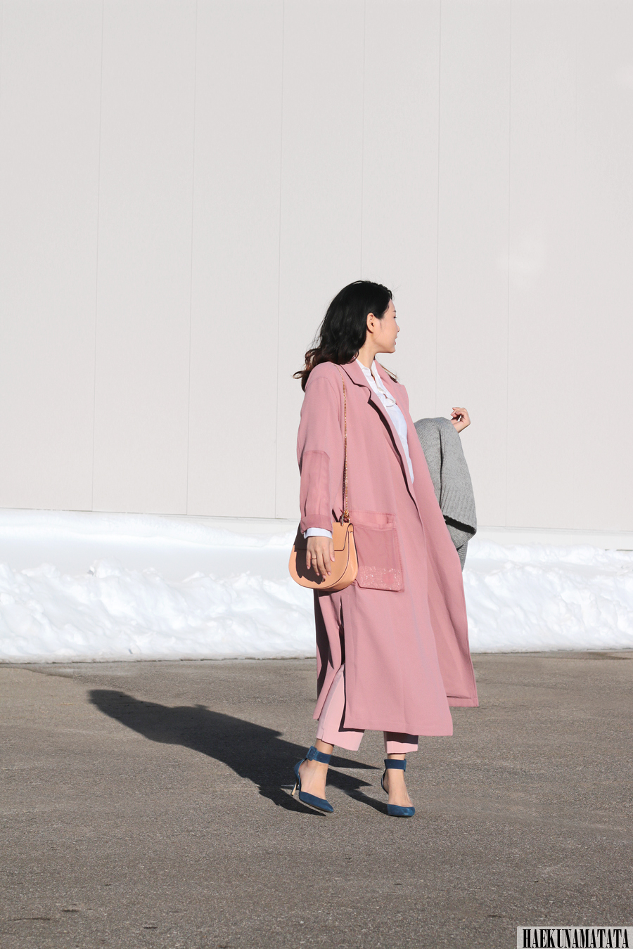 Topshop Duster Coat, Utility Peg Trousers, Ankle Strap Sandal, Long Coat Blogger Style