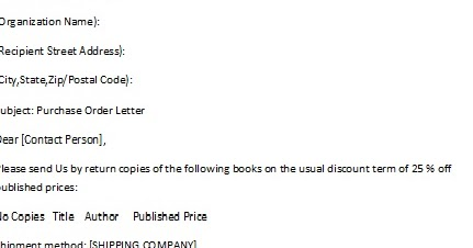 Business Letter Format No Recipient Address – Purchase Order Letter Format