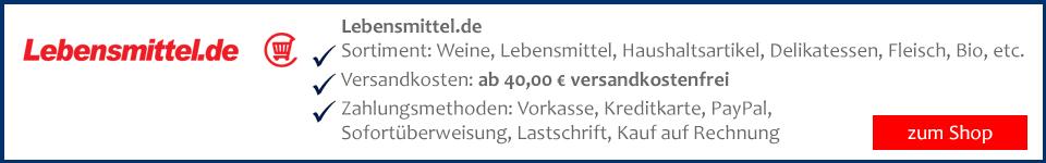 Lebensmittel und Wein auf Rechnung kaufen bei lebensmittel.de