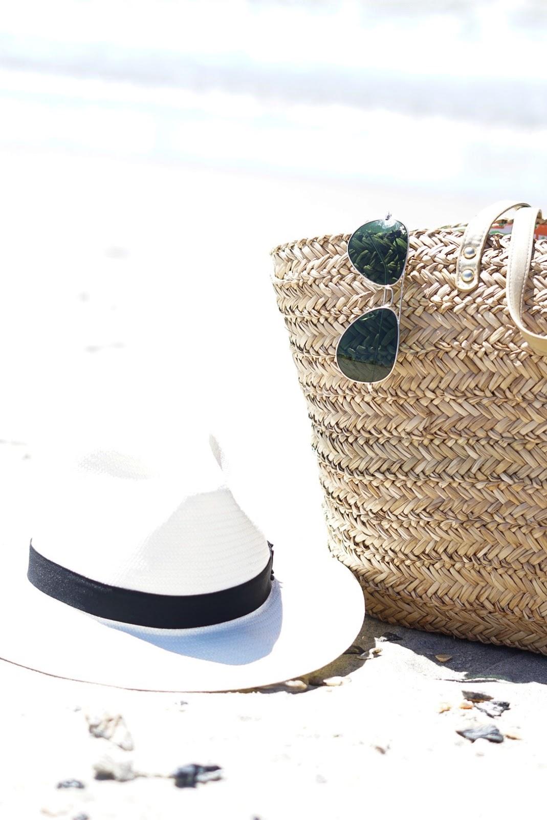 one piece swim, straw tote, holden beach nc