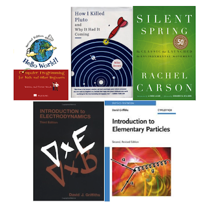 picture of recommended books including particle physics by griffiths and others for blog how to phd