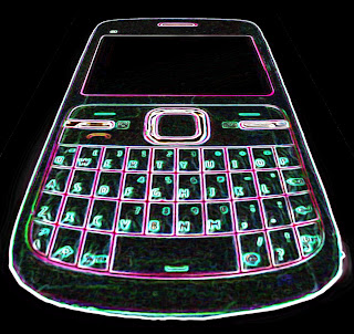 graphic illustration of a dark cell phone with glowing edges