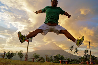 trick shot, jump shot at Mayon
