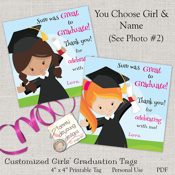 Girls Graduation Treat Bag tags