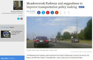 Charlottesville Meadowcreek Parkway roads Rick Sincere Virginia transportation