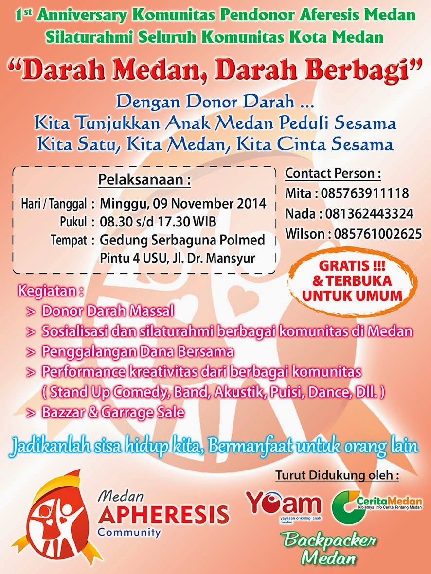 1st Anniversary Komunitas Pendonor Aferesis Medan