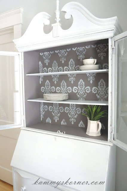 white gray hutch stenciled kammy's korner