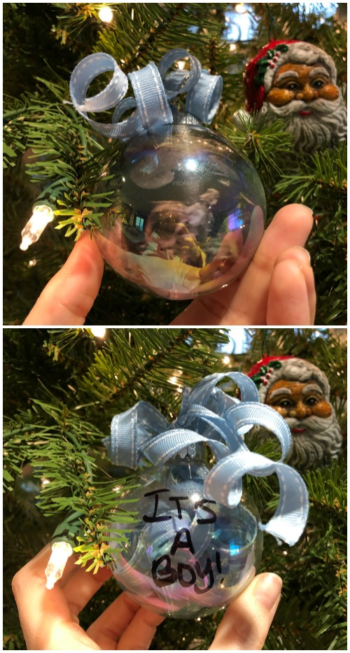 DIY baby gender reveal Christmas ornament