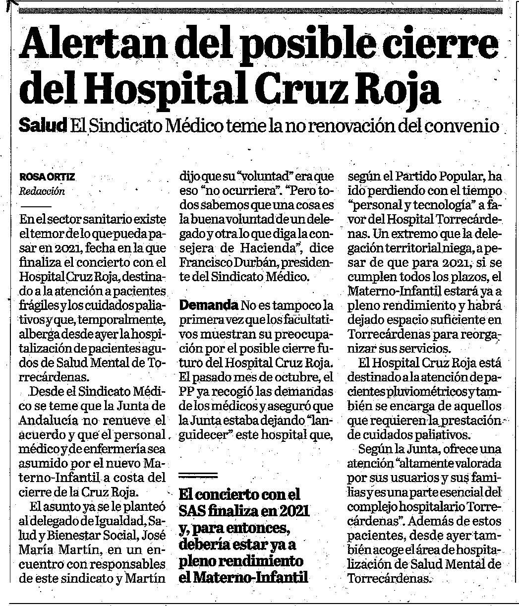 Colegio oficial de m dicos de almer a alertan del posible for Centro de salud ciudad jardin almeria