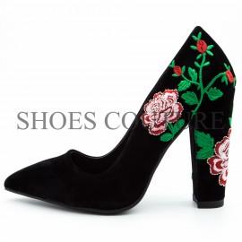 Pantofi dama stiletto cu imprimeu floral