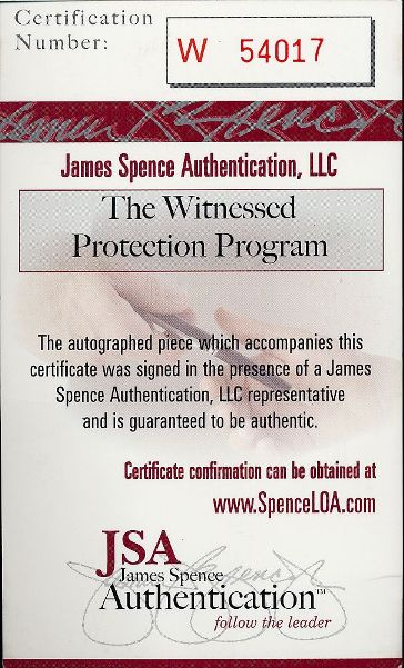 jsa authentication spence james authentic certificate certification hologram certified inc fails memorabilia authenticating pushing agenda already pieces showed same again