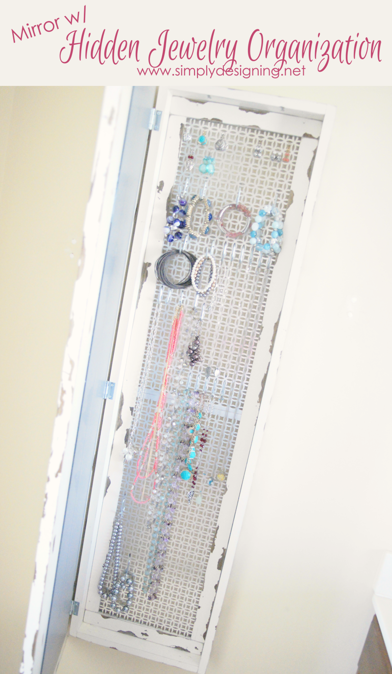 DIY Framed Mirror with Hidden Jewelry Organizer