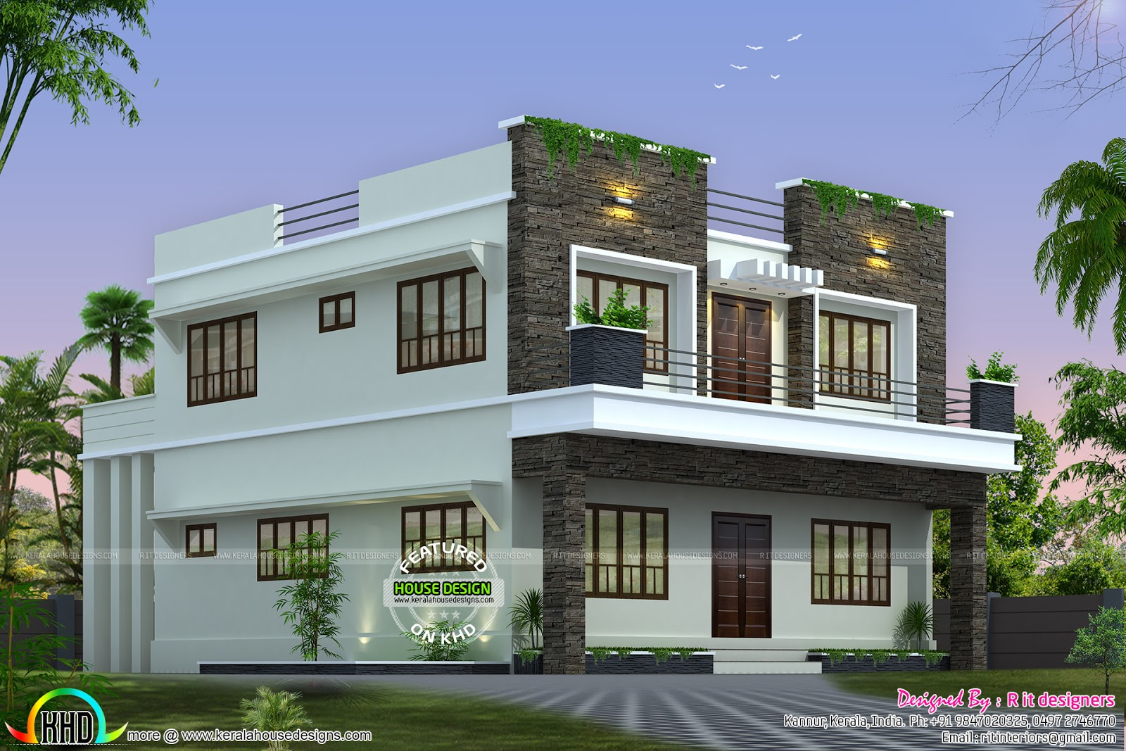 Front side and back view of box model home kerala home for Home design front side