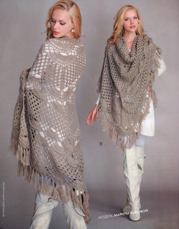 Mantón tejido con ganchillo con patrones