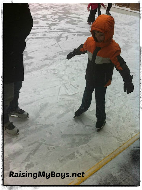 boy learning to skate