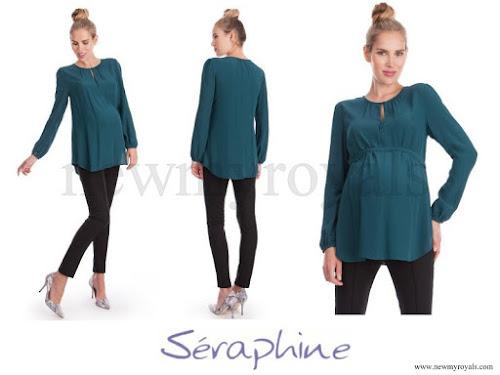 Princess Sofia wore SERAPHINE Emerald Keyhole Maternity Blouse