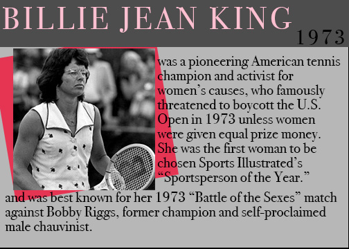 famous feminists, feminists throughout history, women history month, billie jean king, women tennis