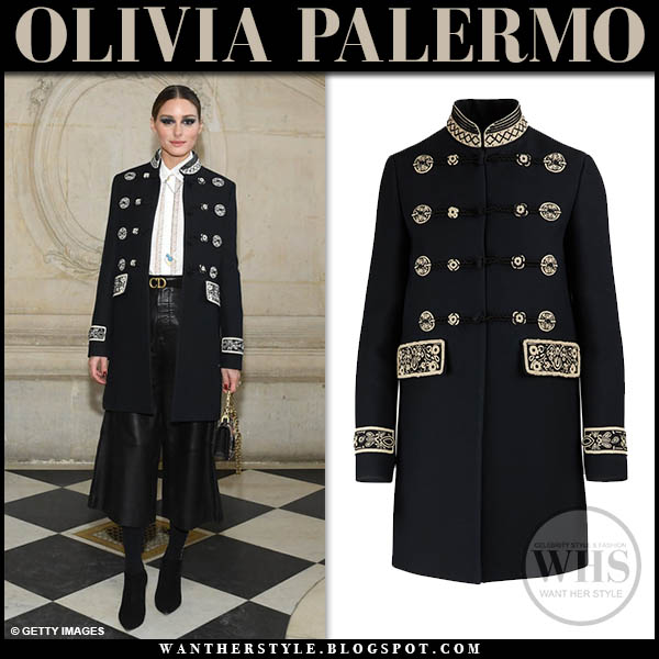 Olivia Palermo in black military embroidered christian dior coat and black leather cropped pants fashion week style paris january 21