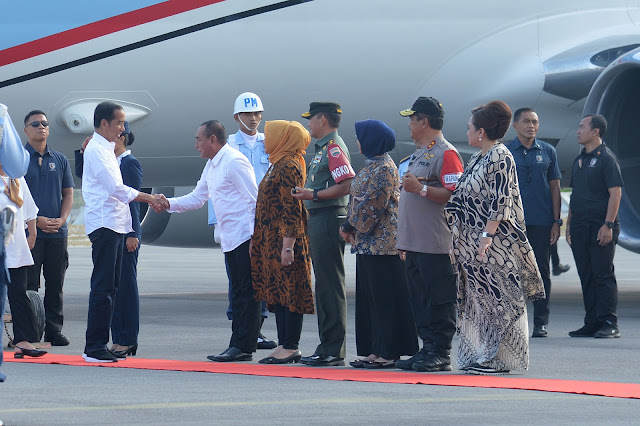 Gubernur Sumut Sambut Kedatangan  Presiden Jokowi di Bandara Silangit
