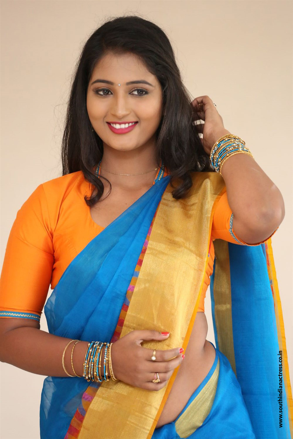 Teja Reddy Hot Navel Show In Saree Stills - South Indian -6703
