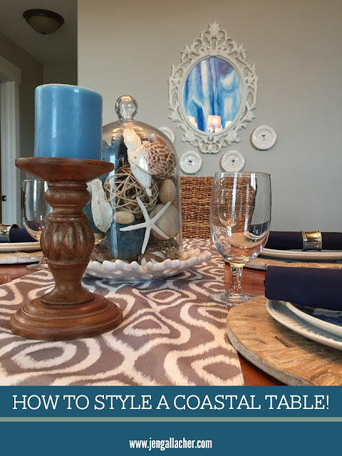 How to Style a Coastal Kitchen Table from www.jengallacher.com. #coastalstyle #tabelscape #nauticalstyle