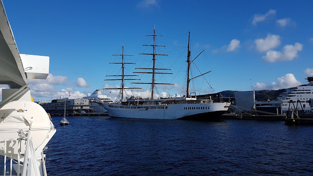 Square-rigged Barque/cruise ship Sea Cloud II in Bergen, Norway; Ships in Bergen