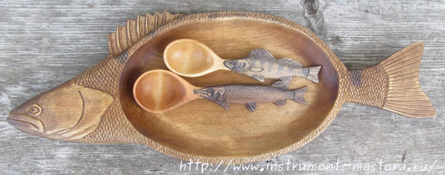 Декоративное резное блюдо судак