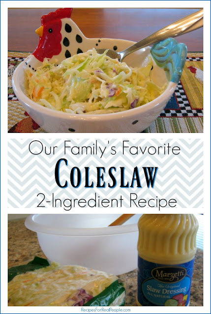 This family-favorite coleslaw recipe is easy, quick (takes less than 5 minutes) and requires only two ingredients. What could be better than that?